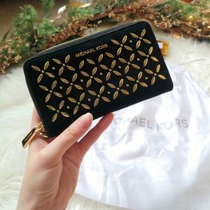 Michael Kors Blossom Embellished Zip Wallet